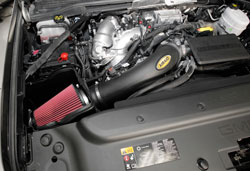 Closeup of an AIRAID 201-335 MXP Cold Air Intake installed on a LML Duramax 6.6L