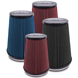 AIRAID washable air filters combine layers of red oiled cotton media with SynthaFlow synthetic materials or AIRAID SynthaMax 100% synthetic non-oiled filters available in red, black, or blue