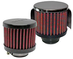 AIRAID makes a variety of chrome top or rubber top breather filters with clamp-on, push-on and screw-on mounting options that are also washable and reusable SynthaFlow air filters