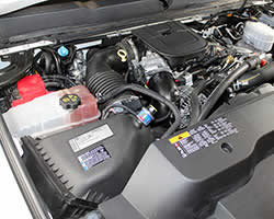 Under the hood of the 2011 Chevy Silverado 2500HD with a 6.6L LML Duramax Diesel engine
