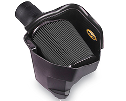 The AIRAID 2011-2016 Dodge Challenger, Charger, and Chrysler 300 3.6L V6 MXP air intake system can be equipped with a red oiled filter, red dry filter, black dry filter, or blue dry filter