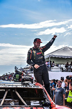 Jeremy McGrath celebrating win in Pro2 Trucks at Round 7 of the LOORRS