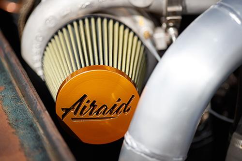 An Airaid performance air filter helps keep air flowing through this 1,200-hp 1949 Ford F1