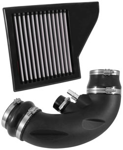 A look at the back of the AIRAID Jr. air filter and intake tube