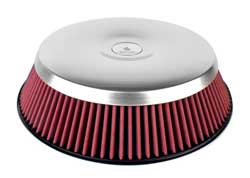 AIRAID Concept II SynthaMax non-oiled round air filter assemblies for carbureted vehicles feature a beautiful lightweight aluminum lid, and an air cleaner base that enhances airflow