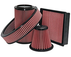 AIRAID air filters combine layers of red oiled cotton media with SynthaFlow synthetic materials or AIRAID SynthaMax 100% synthetic non-oiled filters available in red, black, or blue