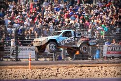 AIRAID-sponsored Brock Heger showing off for the crowd at Lucas Oil Off Road Racing Series